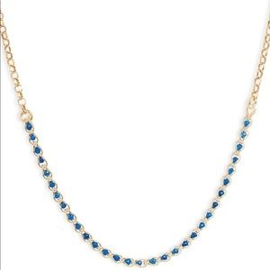 Argento Vivo Gold Caged Blue Crystal Necklace
